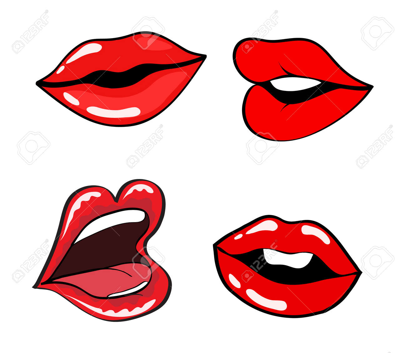female lips set mouth with a kiss smile tongue teeth vector rh 123rf com Eyes Lips Face Most Beautiful Lip Shape