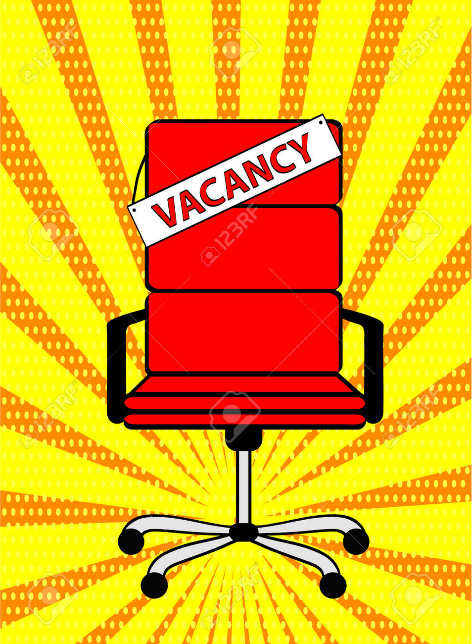 Groovy Empty Red Office Chair And Sign Word Vacancy On Retro Pop Art Download Free Architecture Designs Scobabritishbridgeorg
