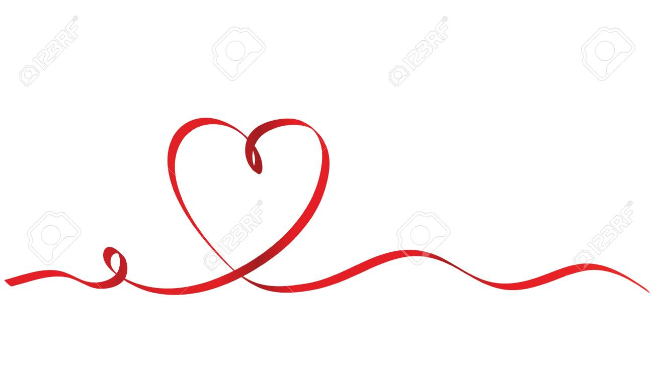 Calligraphy Red Ribbon Heart on White Background, Vector Stock Illustration - 97471355
