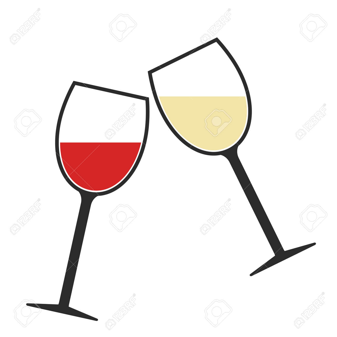 b492c16f331 Red And White Wine Glasses Clink Icon Isolated