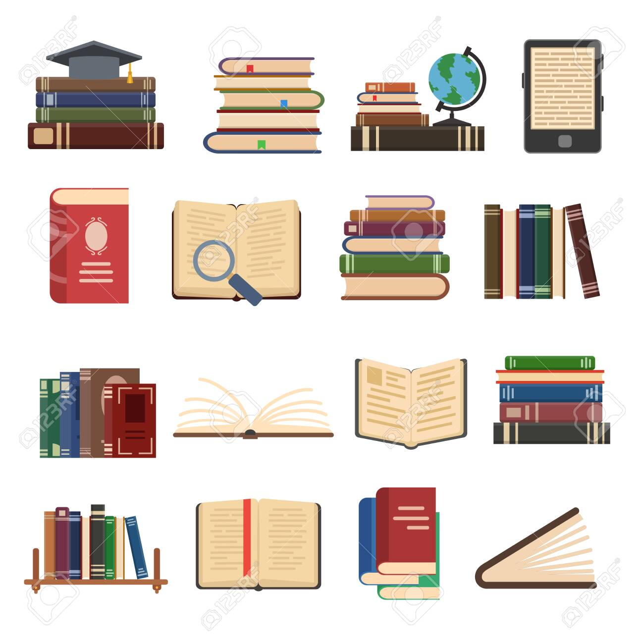 Flat book icons. Library books, open dictionary page and encyclopedia on stand. Pile of paper magazines, ebook globe and novel booklet, publishing vector isolated symbols set - 148595302