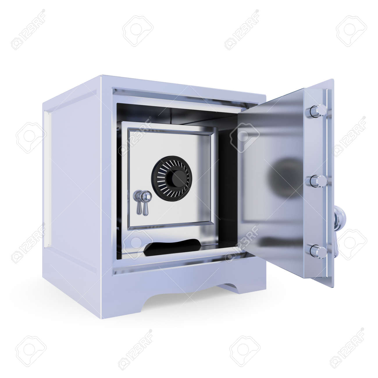 Opened iron safe and another safe inside. Double protection concept. Isolated on white background. 3d rendered. Stock Photo - 12223822