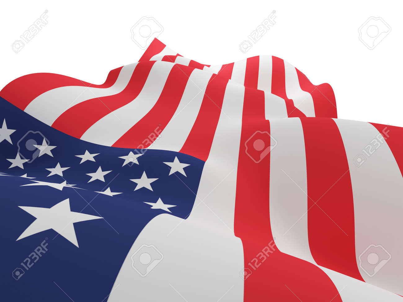USA flag. 3d rendered. Isolated on white background. Stock Photo - 12218015