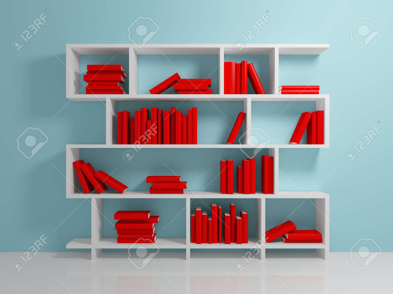 White bookshelf with a red books against blue wall. Stock Photo - 12218310