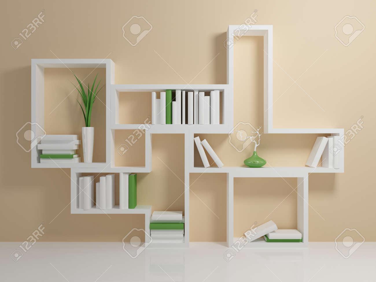 Weißes Bücherregal Mit Einem Weißen Und Grünen Bücher Gegen Beige