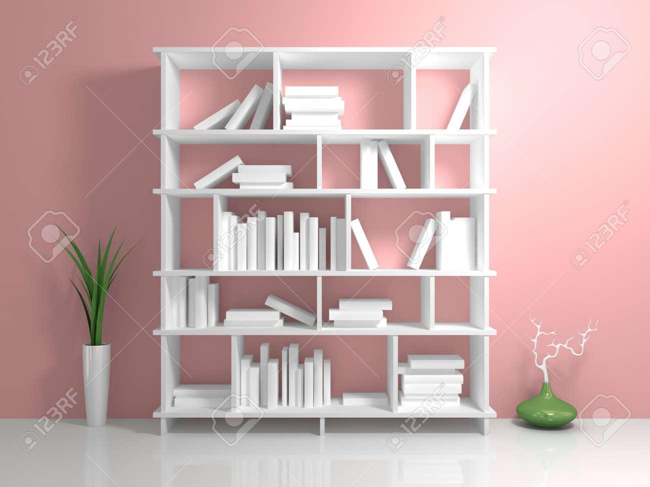 Verzauberkunst Weißes Bücherregal Referenz Von Standard-bild - Weißes Bücherregal Mit Einem Weißen