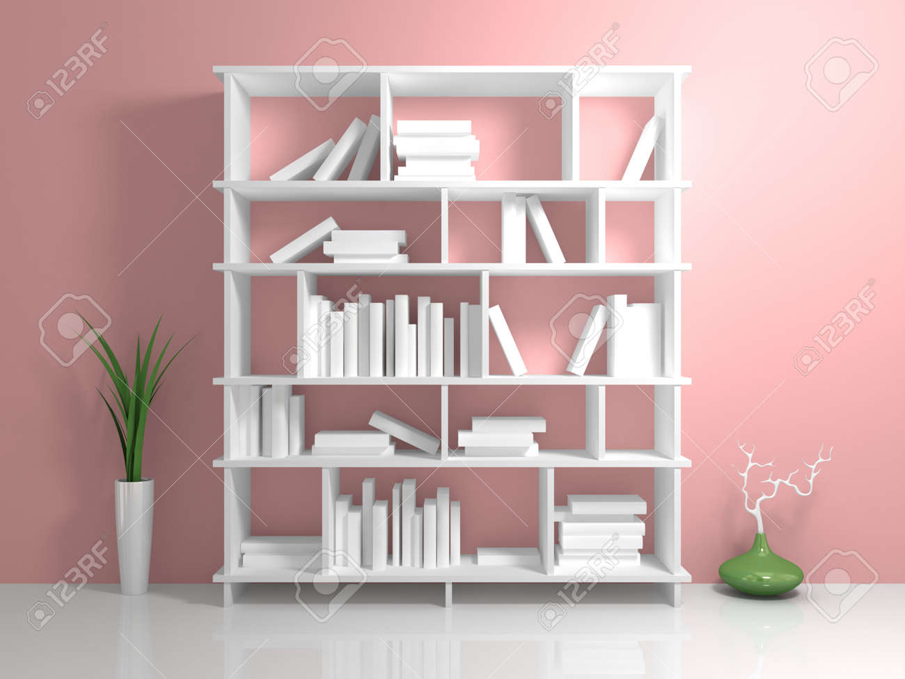 White Bookshelf With A Books Against Pink Wall Stock Photo
