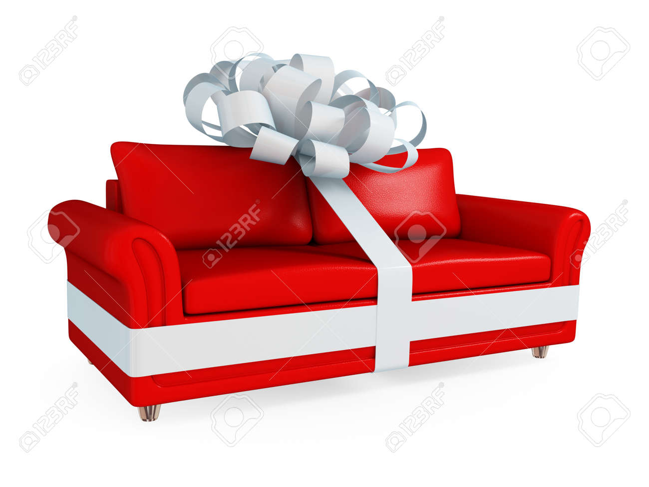 Excellent Red Leather Sofa Wrapped With A White Ribbon Big Sale Concept Pdpeps Interior Chair Design Pdpepsorg