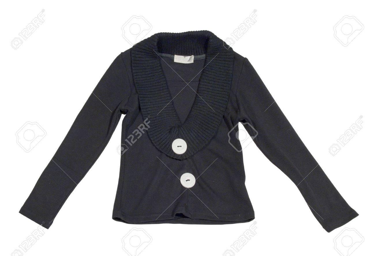 Los niños negros de punto chaqueta con grandes botones blancos. Aislado en blanco.