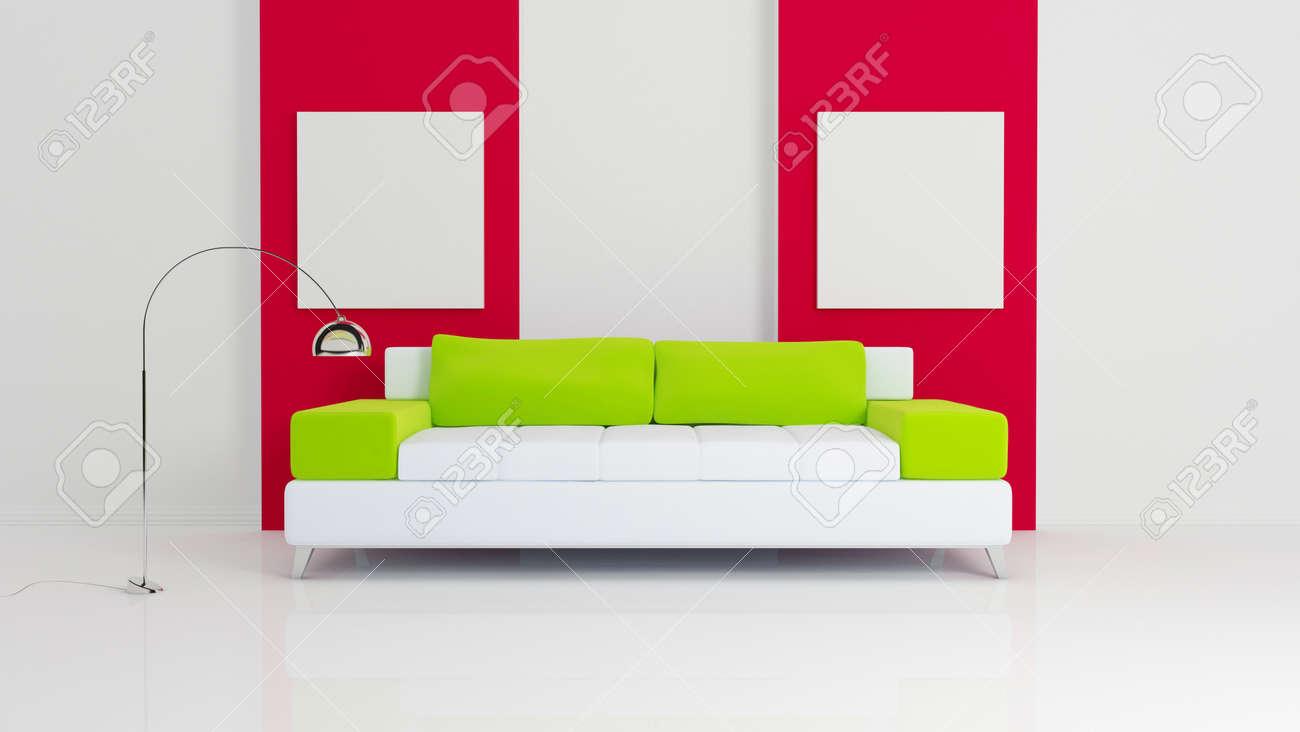 Divano Rosso Cuscini : Immagini stock divano bianco con cuscini verdi lampade cromato