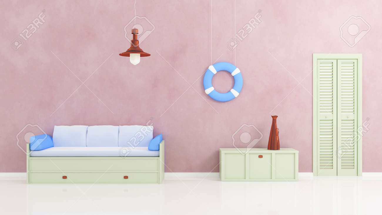 Green wooden sofa with white and blue pillows, bronze lamp, blue buoy and bronze trumpet on green box. Marine style interior. 3d rendered. Stock Photo - 12223750