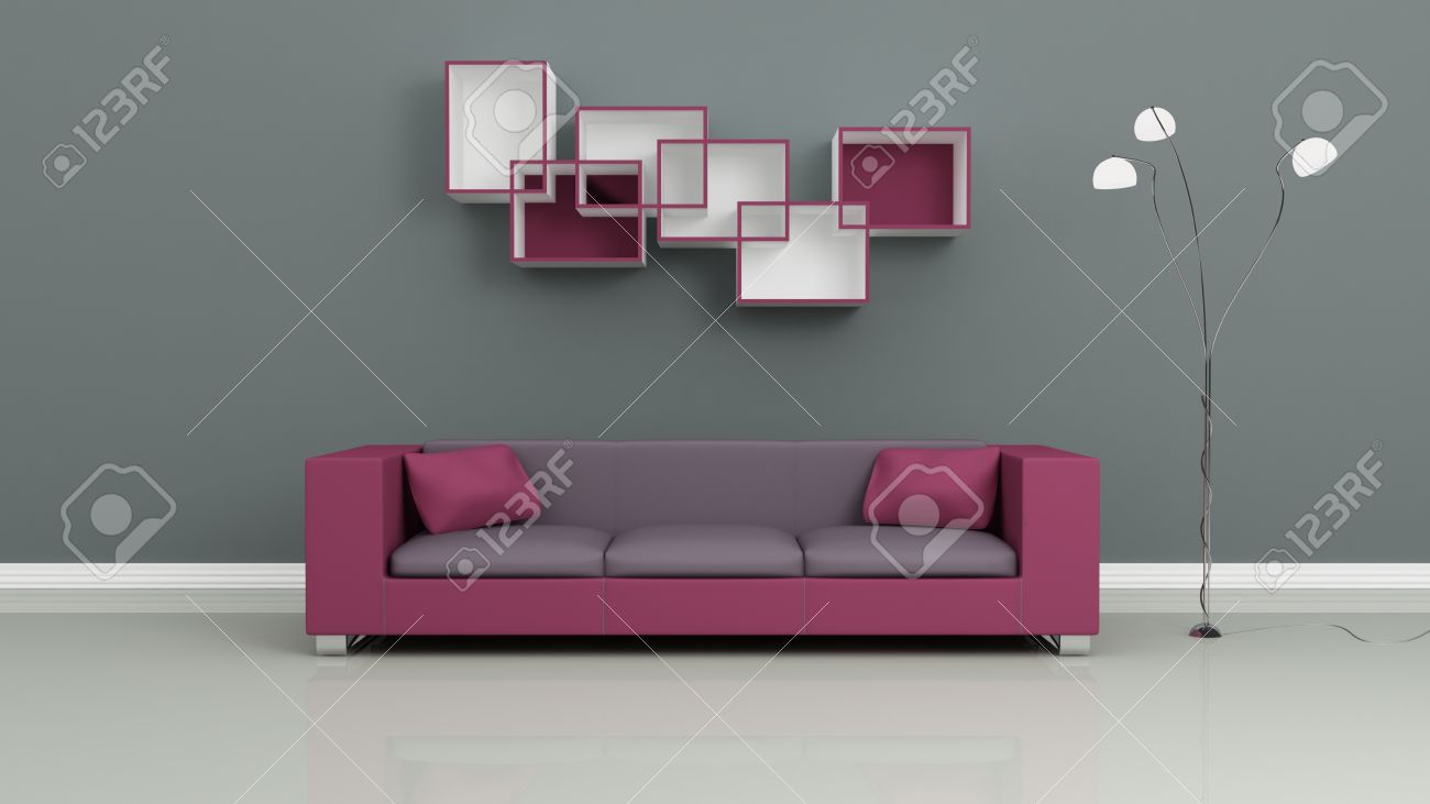 Purple Sofa, Chromed Lamp And Shelves On Grey Wall. Modern Interior  Composition. 3d