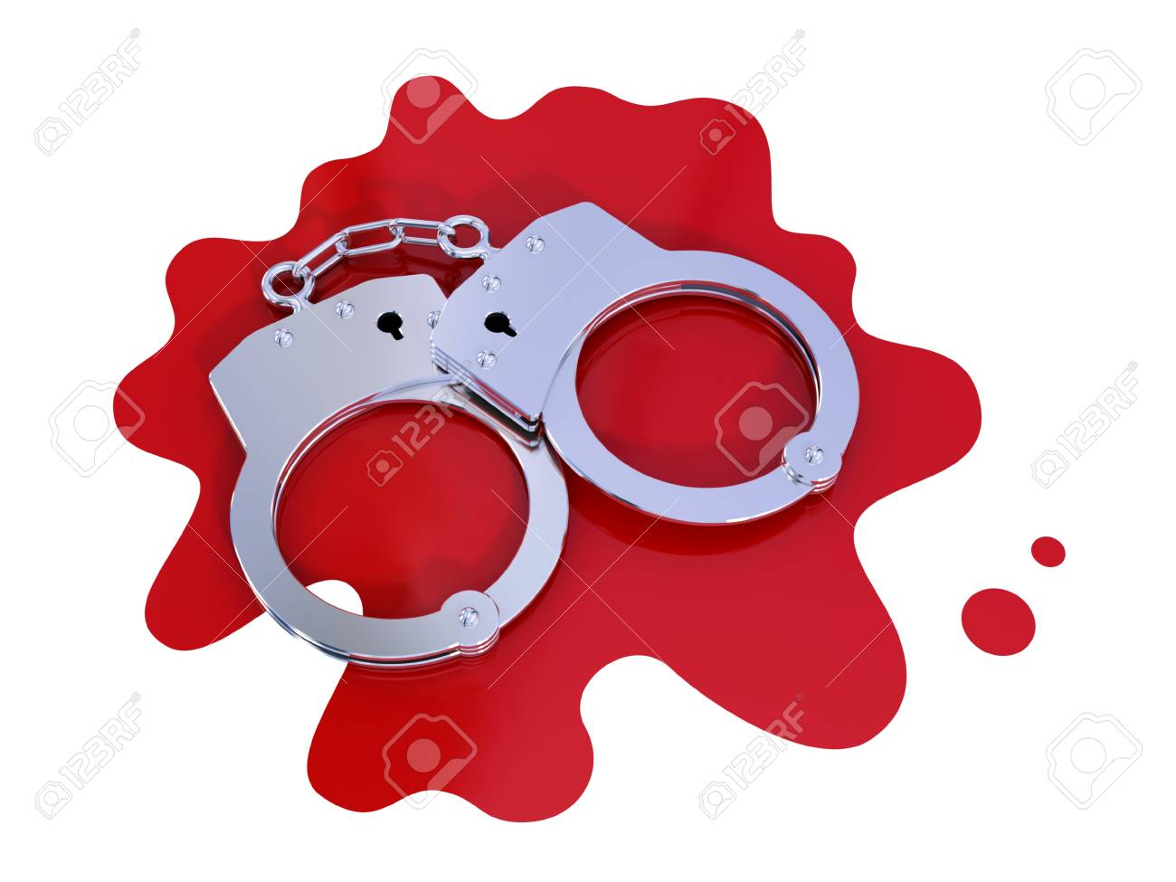 Iron handcuff on bloody stain.  Isolated on white. 3d rendered. Stock Photo - 12174367