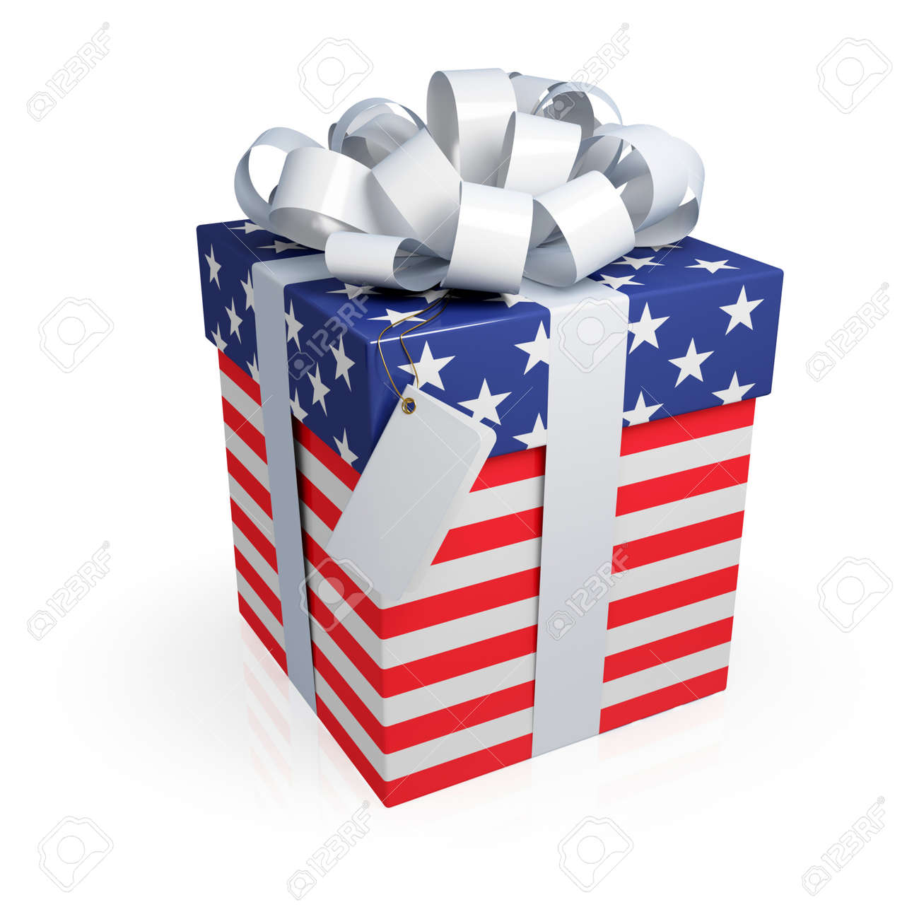ed0e70a924a American gift box. 3d rendered. Isolated on white. Stock Photo - 12218522