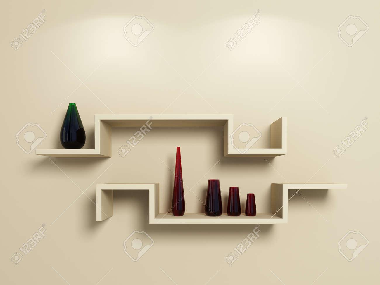 estantes modernos en la pared de color beige con rojo y verde cristalino vasesd
