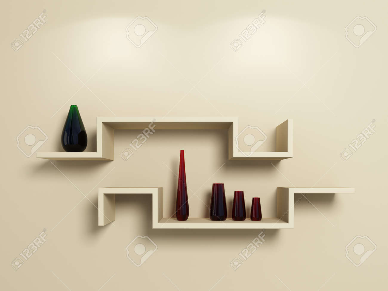 Modern shelves on beige wall with glassy red and green vases.3d rendered. Stock Photo - 12217792