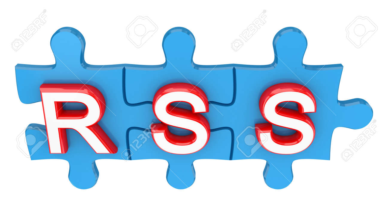 Puzzle with a word RSS. 3d rendered. Isolated on white background. Stock Photo - 12171955