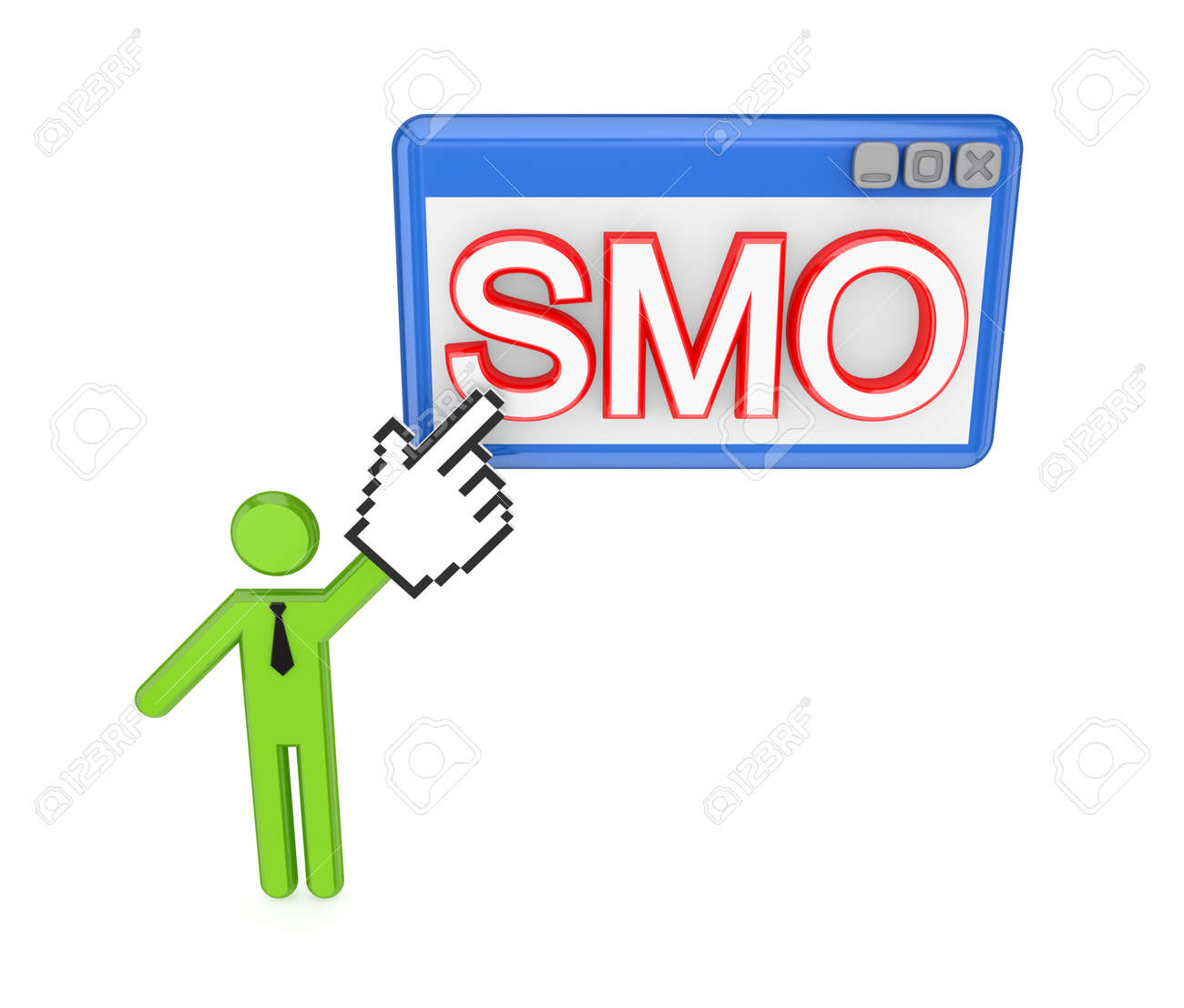 3d small person pointing on a  word SMO. Isolated on white background. Stock Photo - 12172302