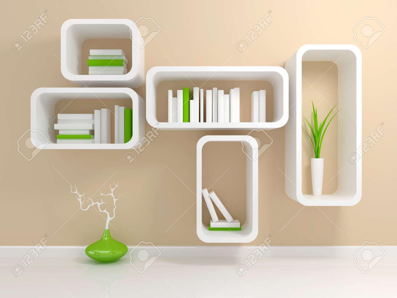 Realistic 3d illustration of modern wooden bookshelf against ston - Book Shelf White Bookshelf Modern White Bookshelf With A White And Green Books Against Beige