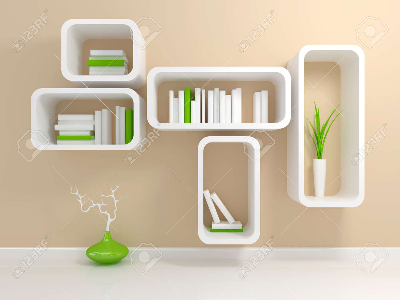 Modern White Bookshelf With A And Green Books Against Beige Wall Stock Photo