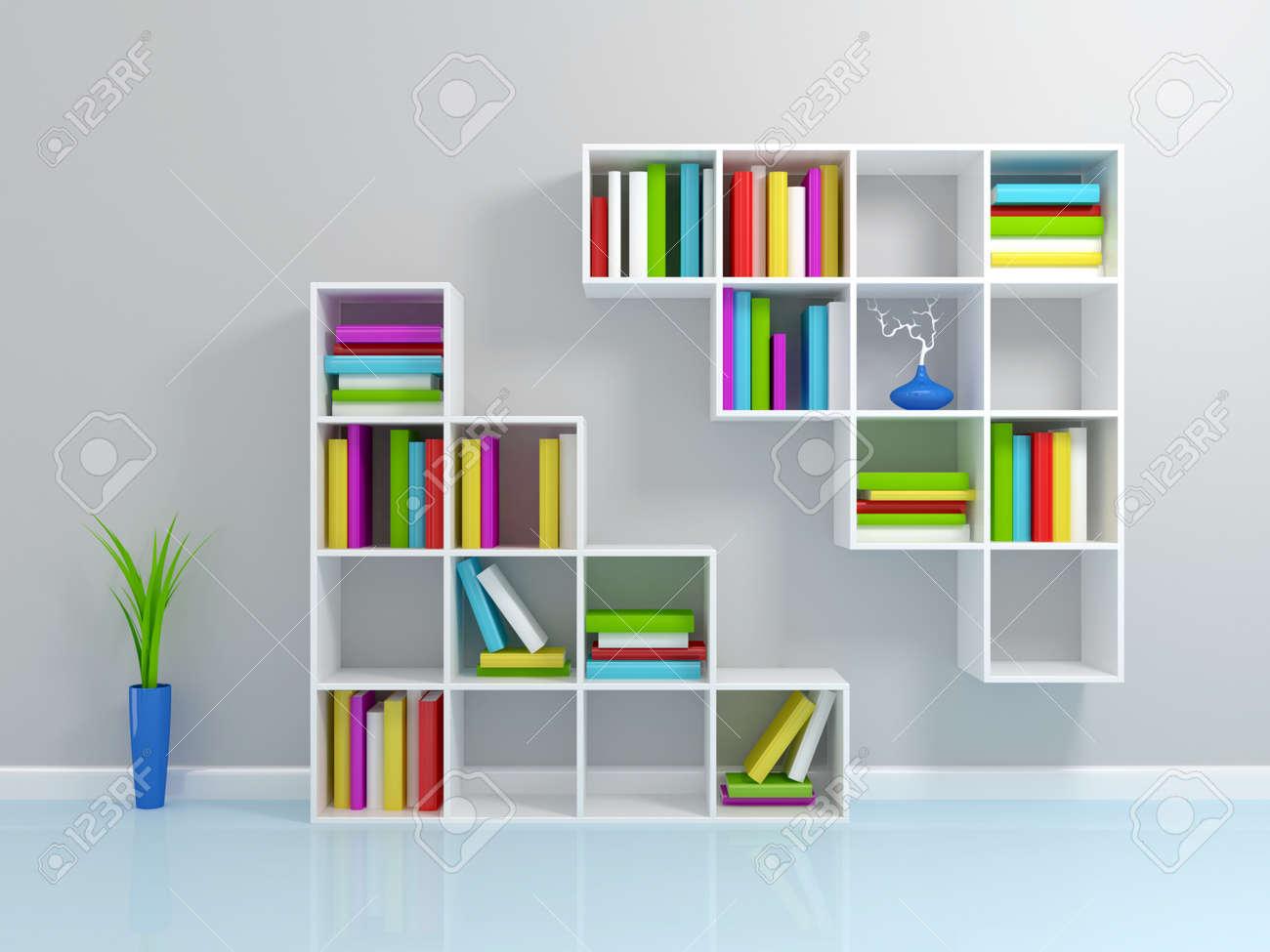 Realistic 3d illustration of modern wooden bookshelf against ston - 3d Bookshelf White Bookshelf With A Colorful Books 3d Rendered