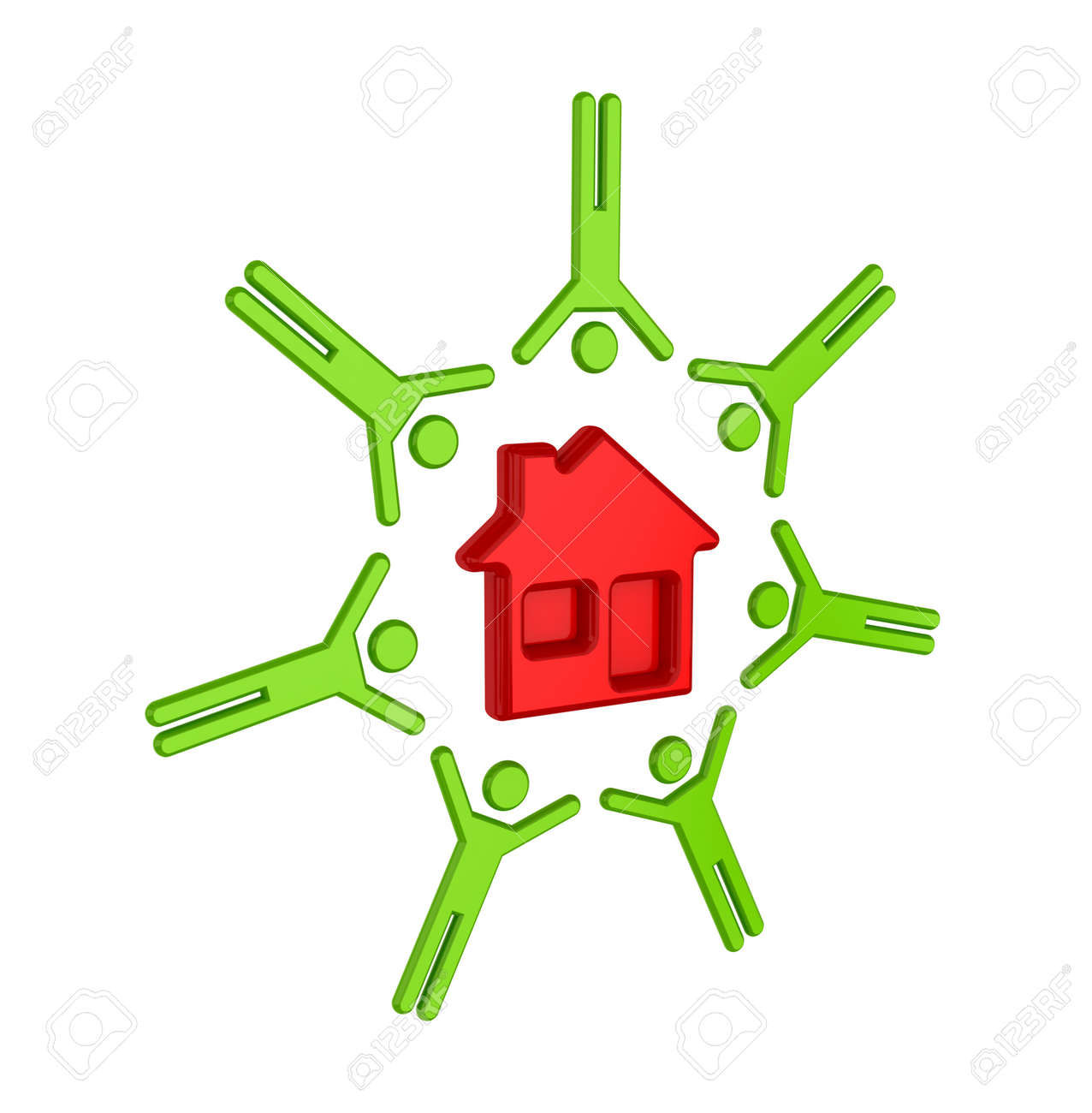Colorful 3d small people around house icon. Isolated on white background. Stock Photo - 12171671