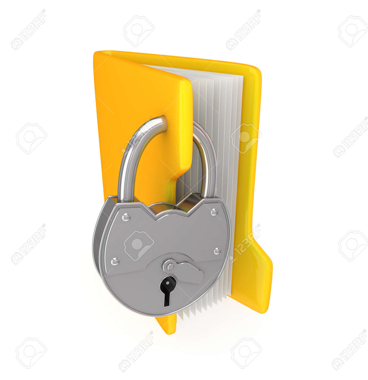 Yellow folder and iron lock.3d rendered.Isolated on white background. Stock Photo - 12170287