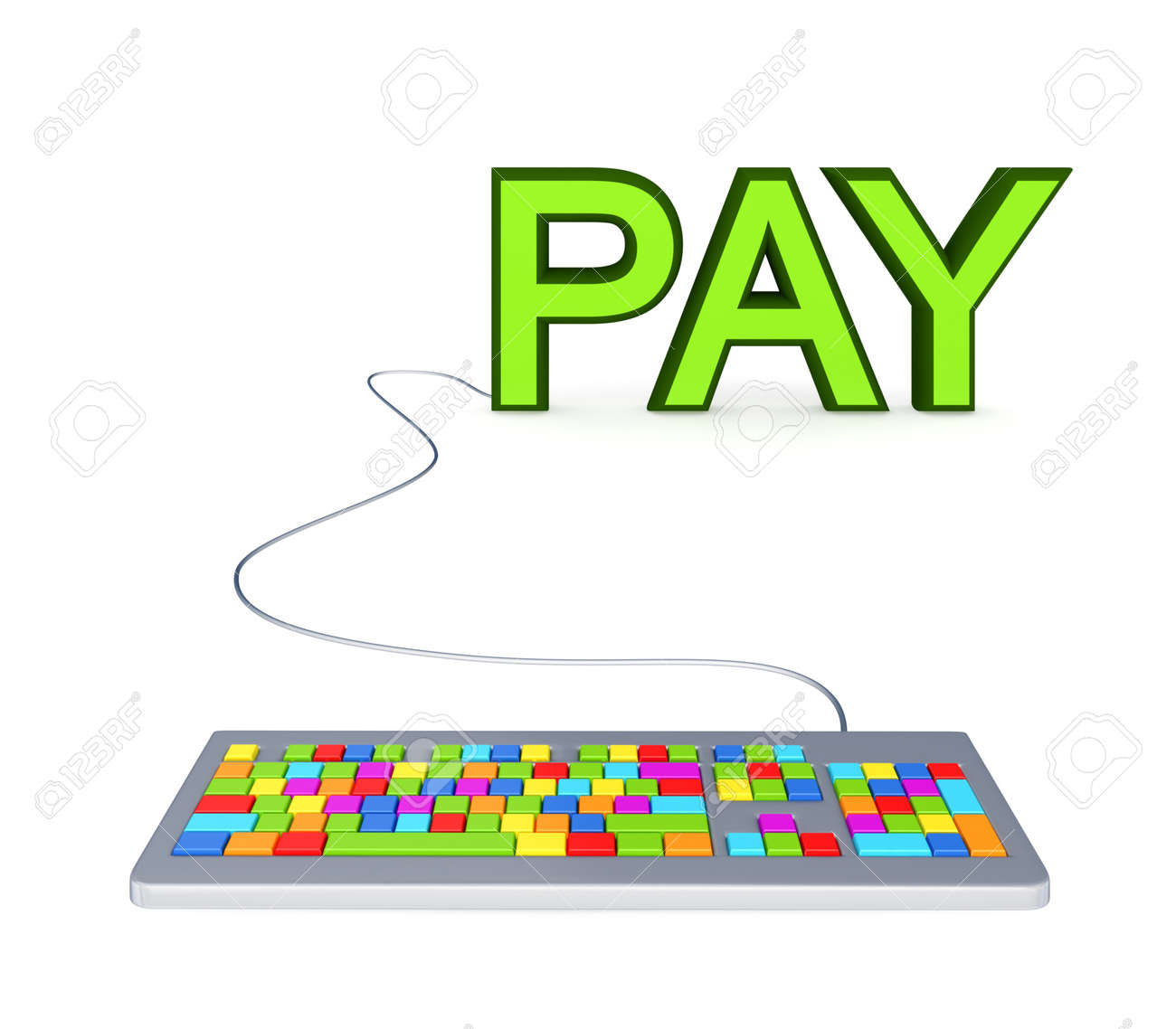 Colorful PC keyword and big green word PAY.Isolated on white background. Stock Photo - 12171920