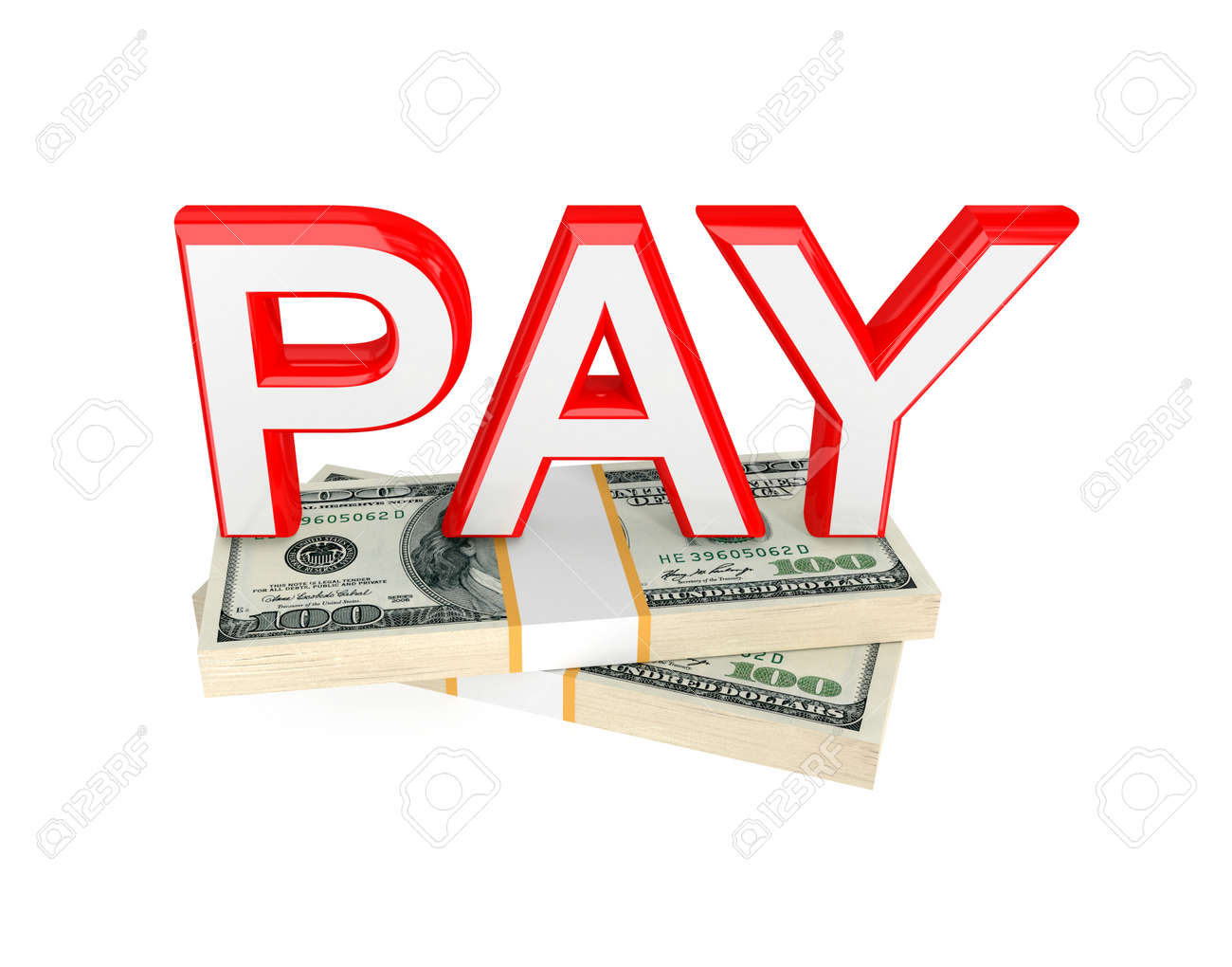 word pay and two packs of money 3d rendered isolated on white