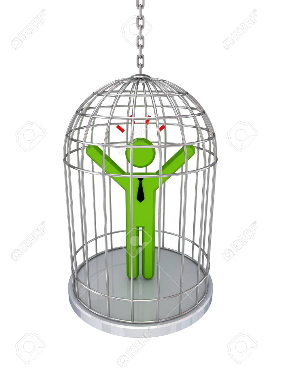3d small person in a birdcage.Isolated on white background. Stock Photo - 12174649
