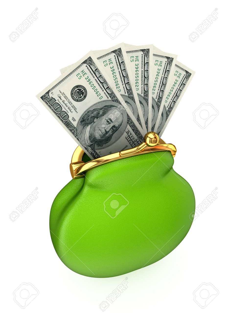 Dollar pack in a green purse.Isolated on white background.3d rendered. Stock Photo - 12172169