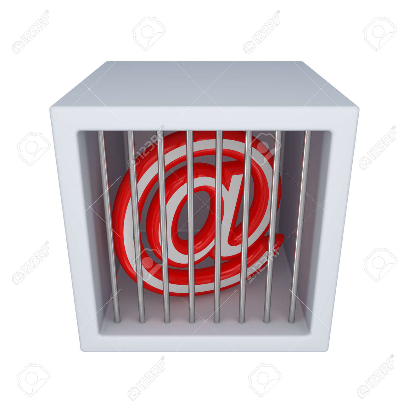 Email sign in a jail.Isolated on white background.3d rendered. Stock Photo - 12217733