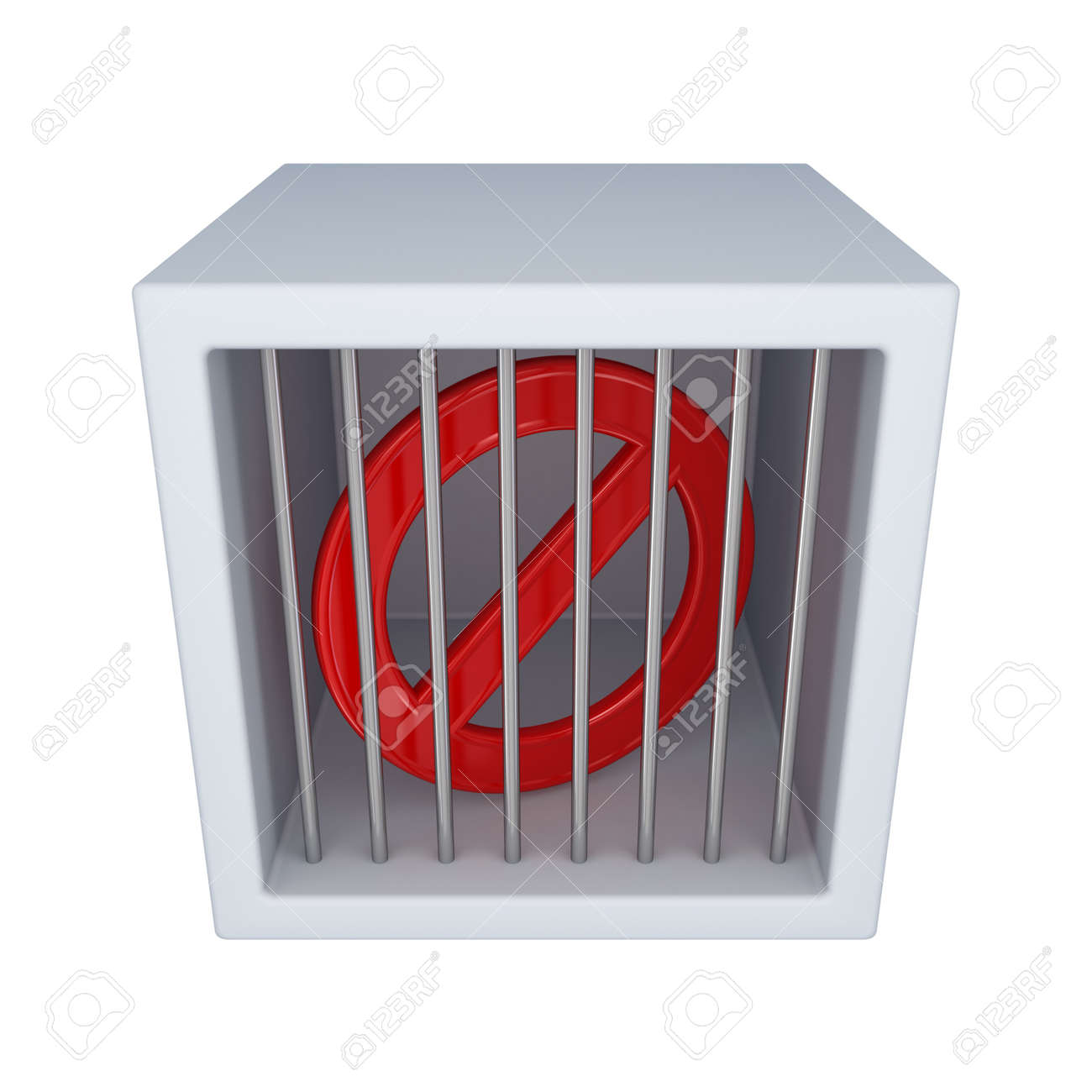 Red stop sign in a jail.Isolated on white background.3d rendered. Stock Photo - 12171243