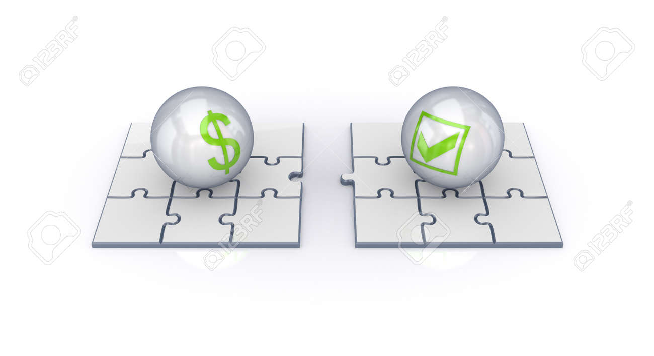 Puzzles, dollar sign and tick mark. Isolated on white background.3d rendered. Stock Photo - 12175222