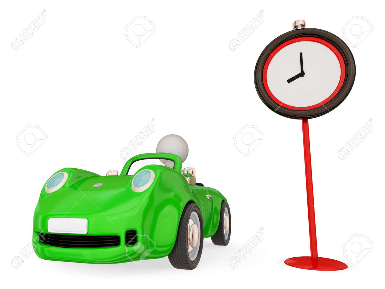Green car with small person inside and red timer. Isolated on white background. 3d rendered. Stock Photo - 12219505