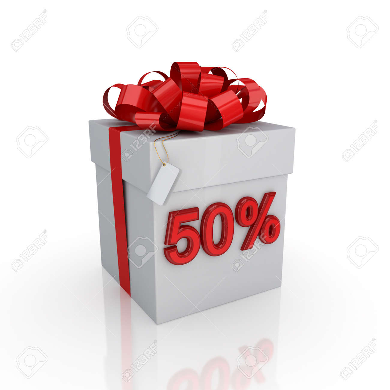 Gift box with a signature 50%.Isolated on white background. 3d rendered. Stock Photo - 12222684