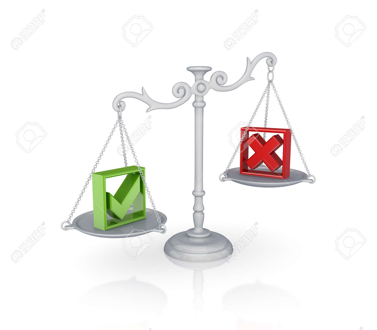 Antique scales with a tick and cross marks. Isolated on white background.3d rendered. Stock Photo - 12222874