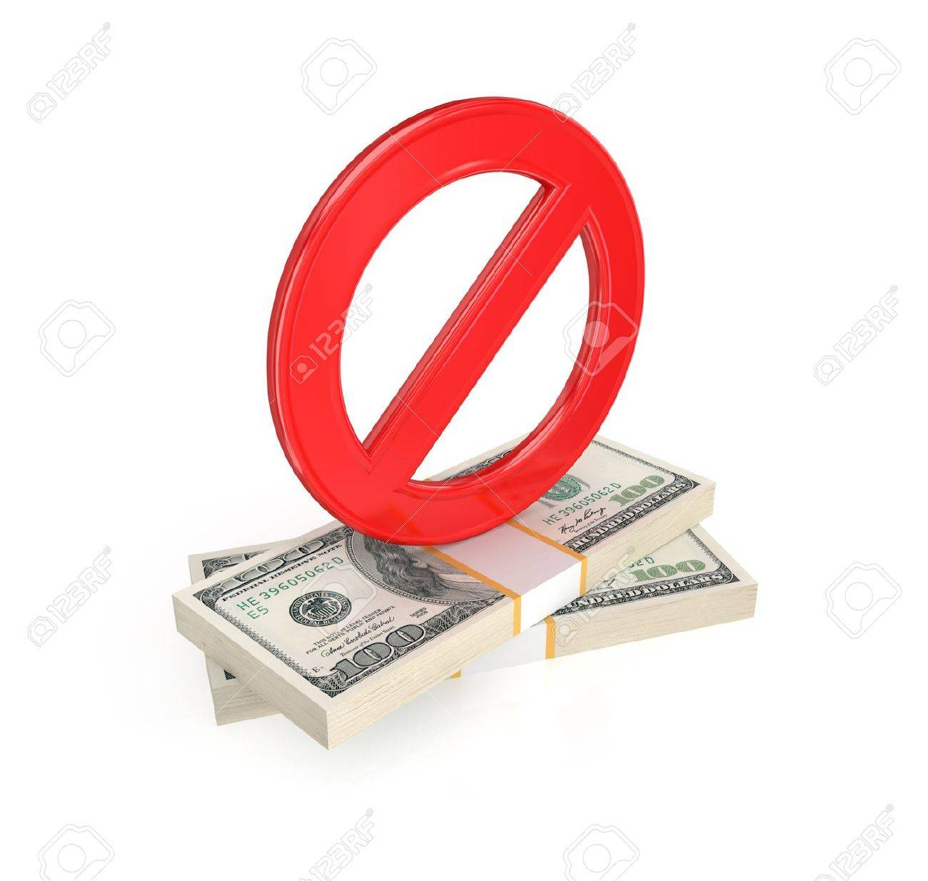 Red stop symbol and dollar packs.Isolated on white background.3d rendered. Stock Photo - 12175462