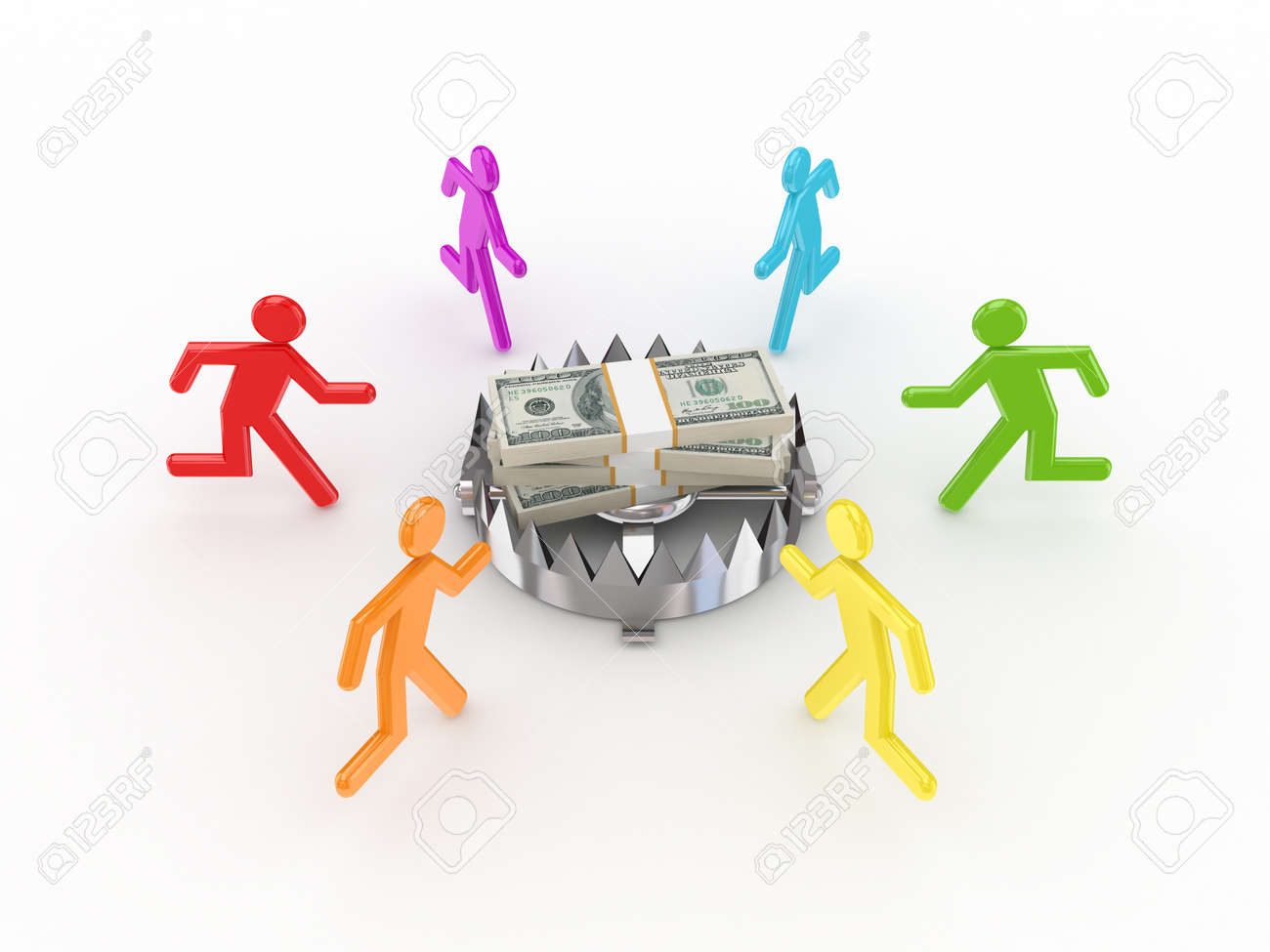 Colorful 3d small people around iron trap and dollars.Isolated on white background. Stock Photo - 12175848
