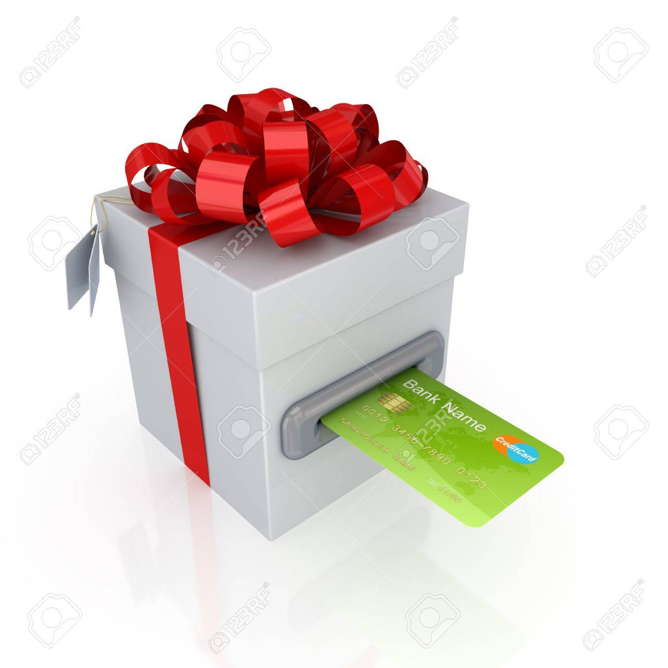 Green credit card and gift box.Isolated on white background.3d rendered. Stock Photo - 12222731