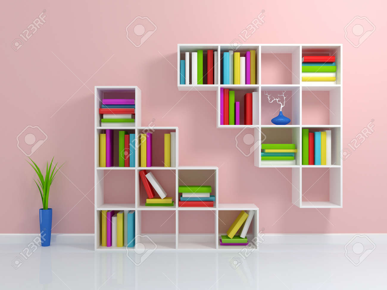 White bookshelf with a colorful books. 3d rendered. Stock Photo - 12222681