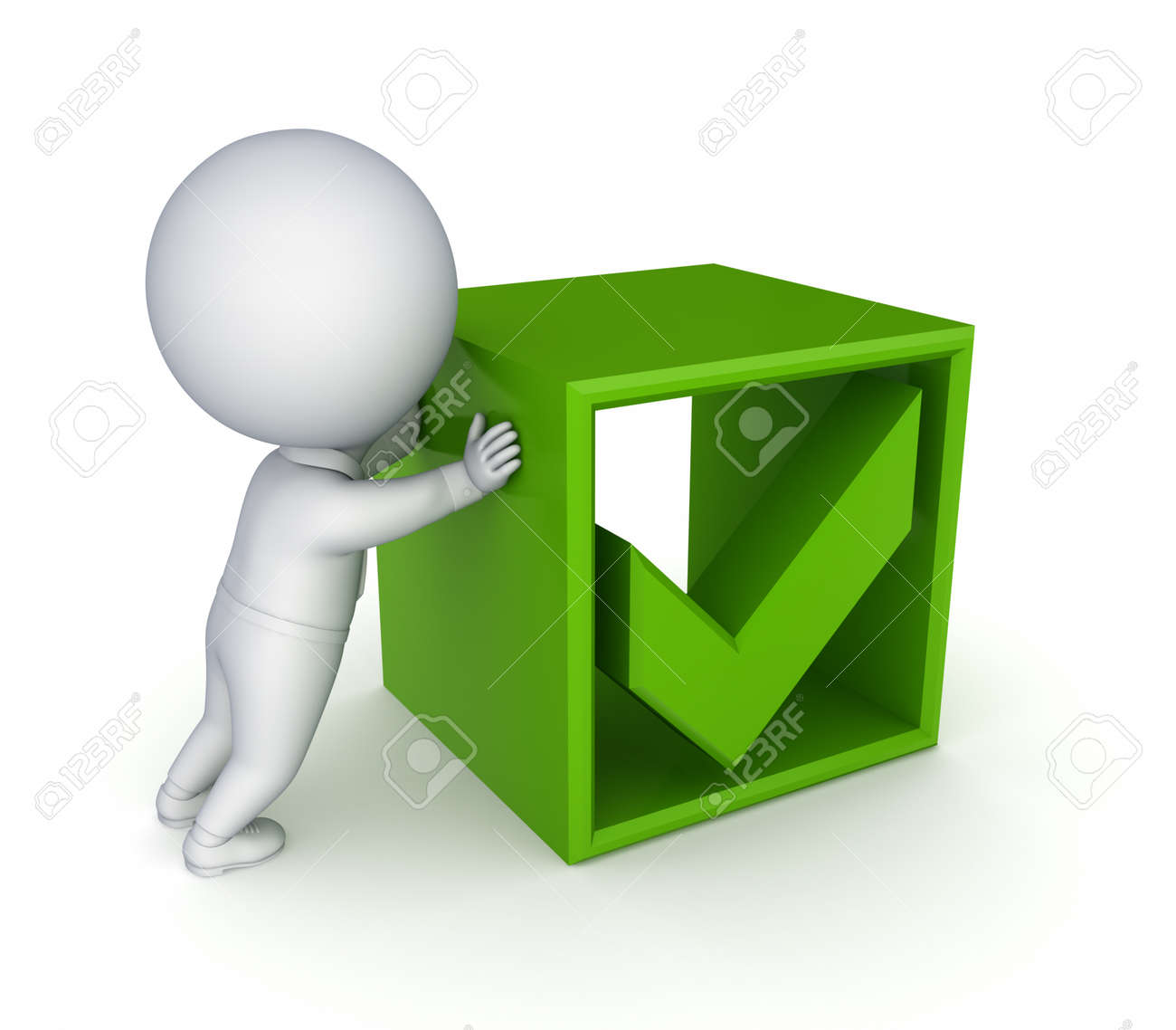 3d small person and green tick mark Stock Photo - 13968183