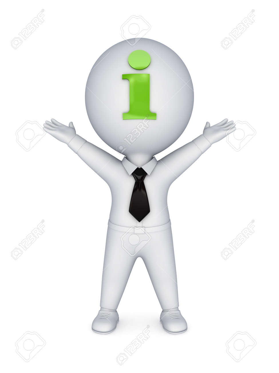3d small person with an info symbol on face Stock Photo - 13968075