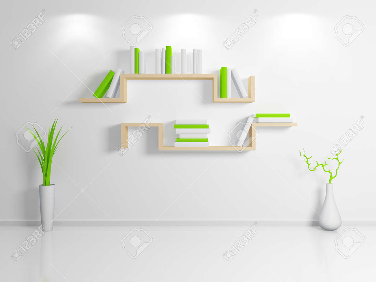 Modern Interior Composition With A Beige Bookshelf 3d Rendered Stock Photo