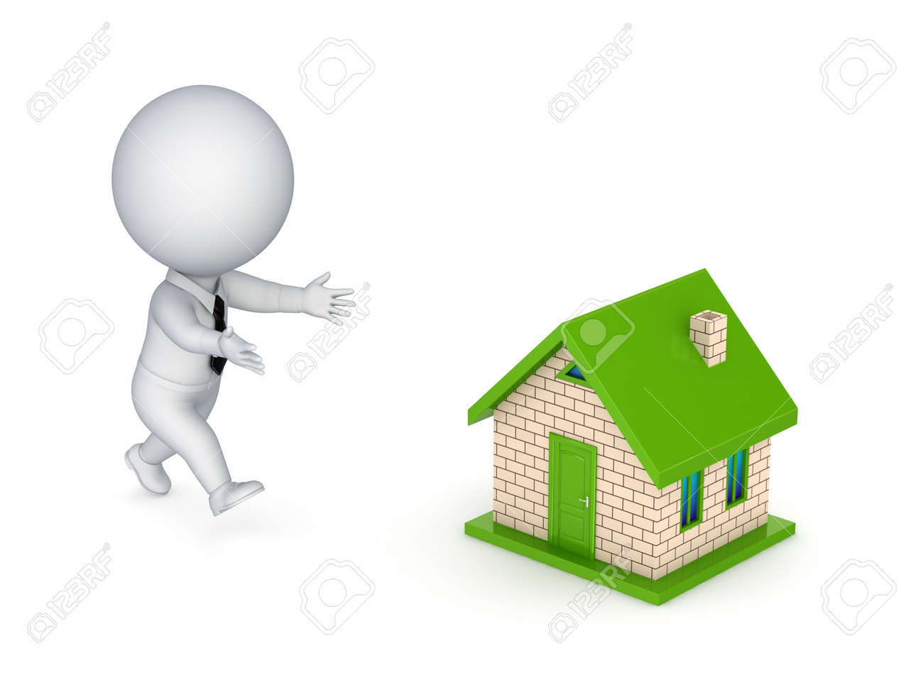 3d small person running to a small house.isolated on white background. Stock Photo - 13968308