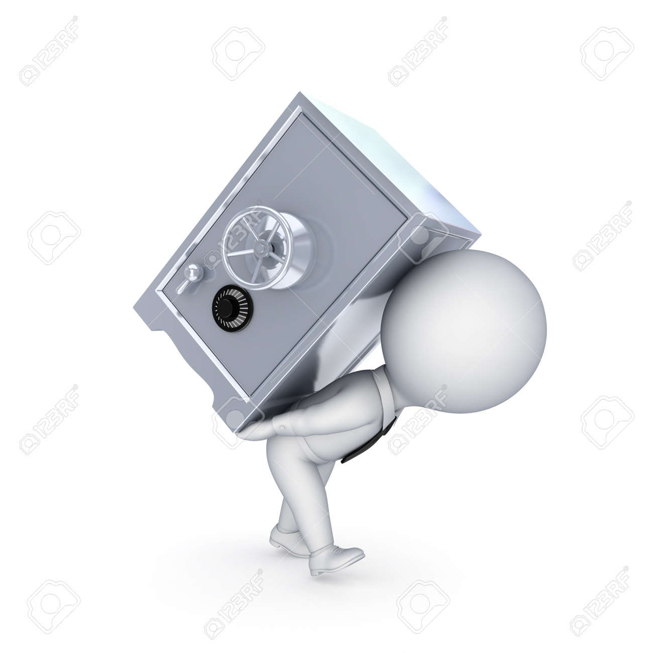 3d small person and iron safe Stock Photo - 14072904