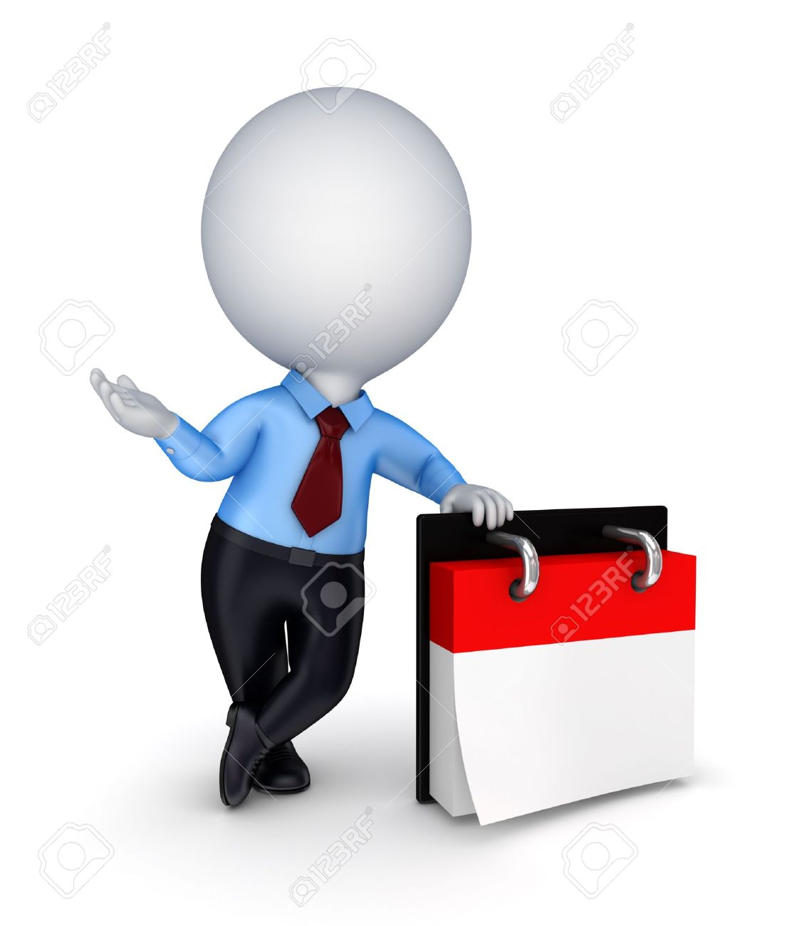 3d small person and empty calendar Stock Photo - 14072617