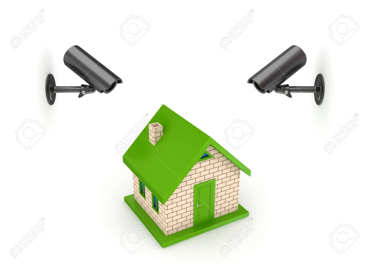 Observation Cameras And Small House Stock Photo Picture And