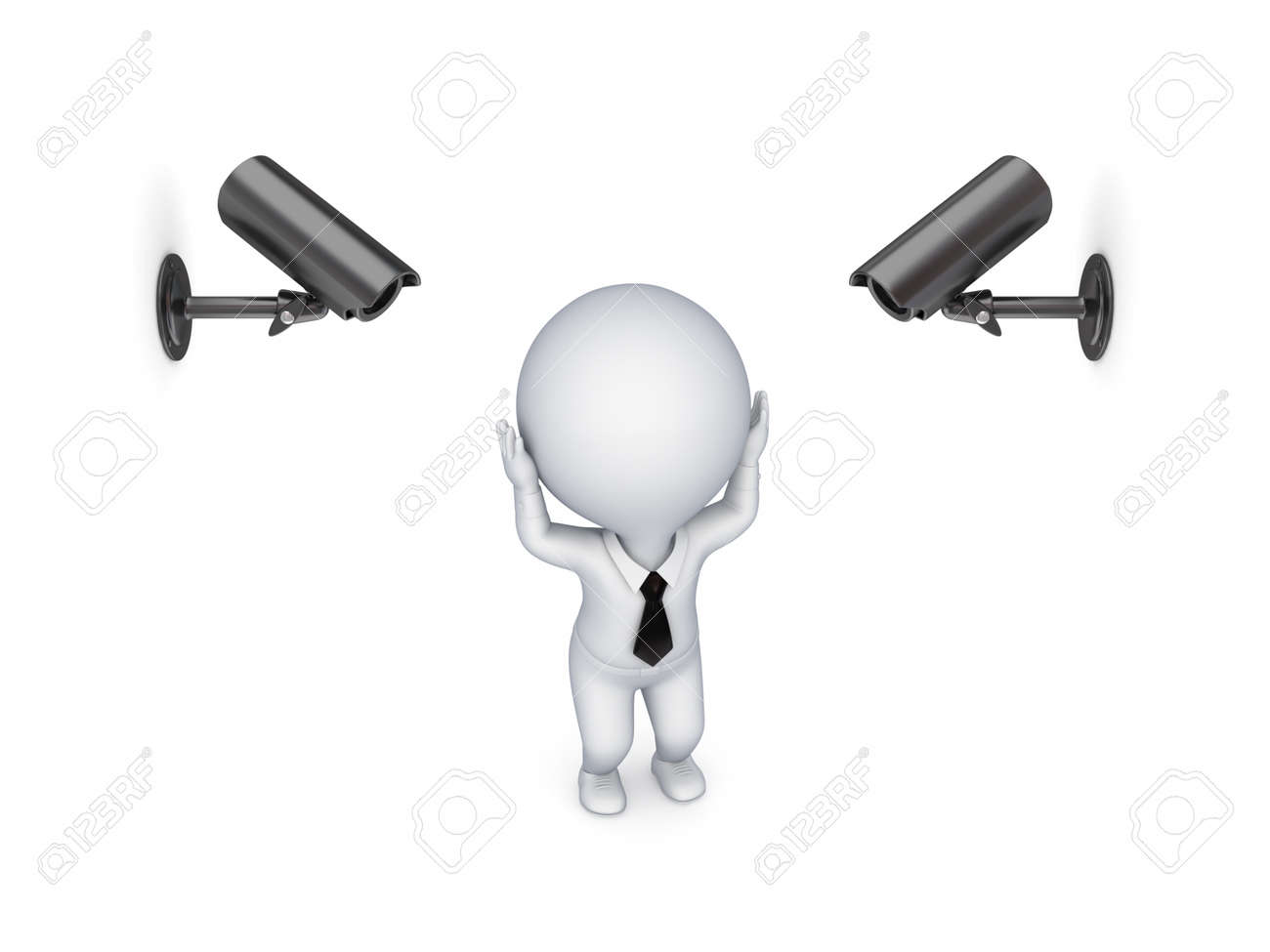 Observation cameras and stressed 3d small person Stock Photo - 14071652