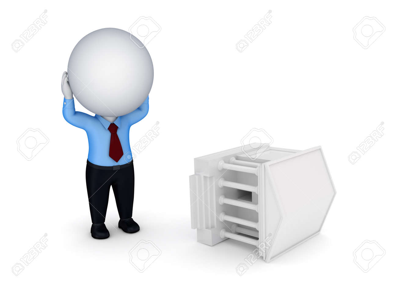 Stressed 3d small person and court Stock Photo - 14071506